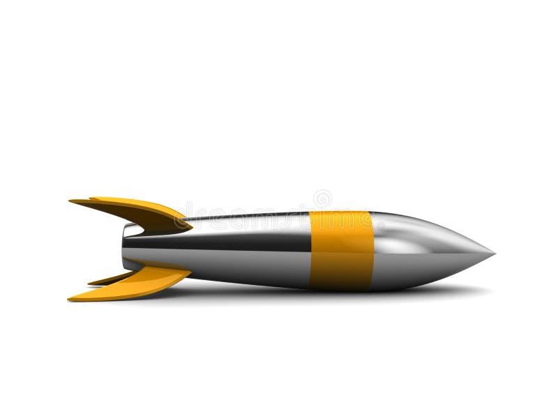 Steel missile. 3d illustration of steel missile over white background stock illustration