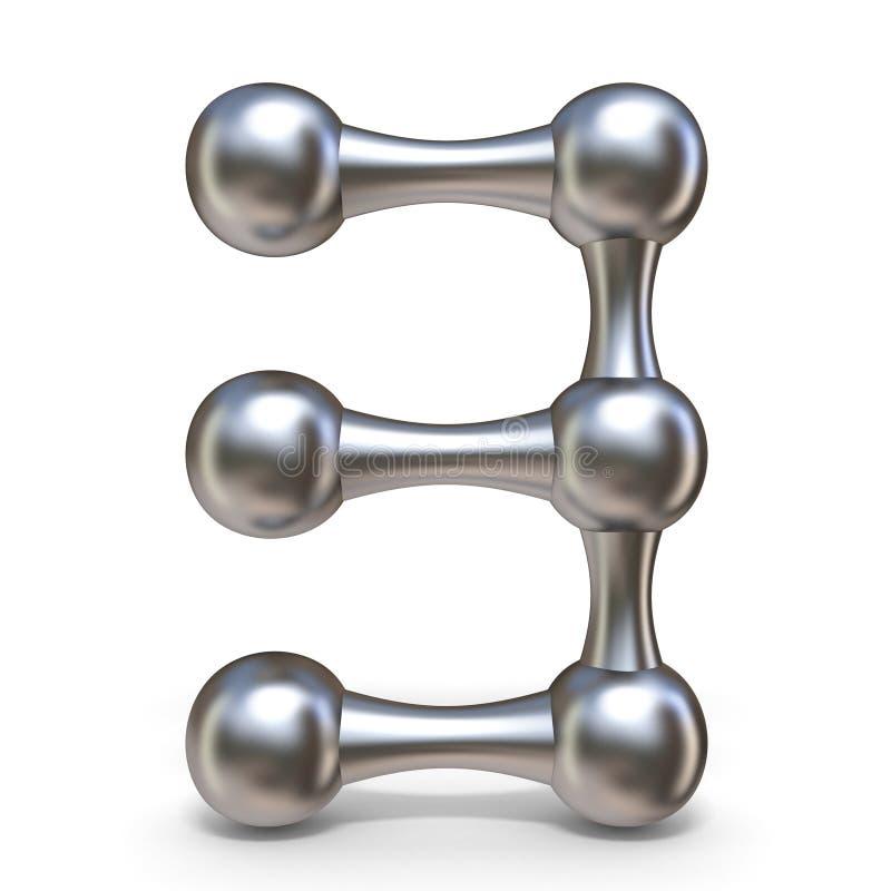 Steel molecular font Number 3 three 3D stock illustration