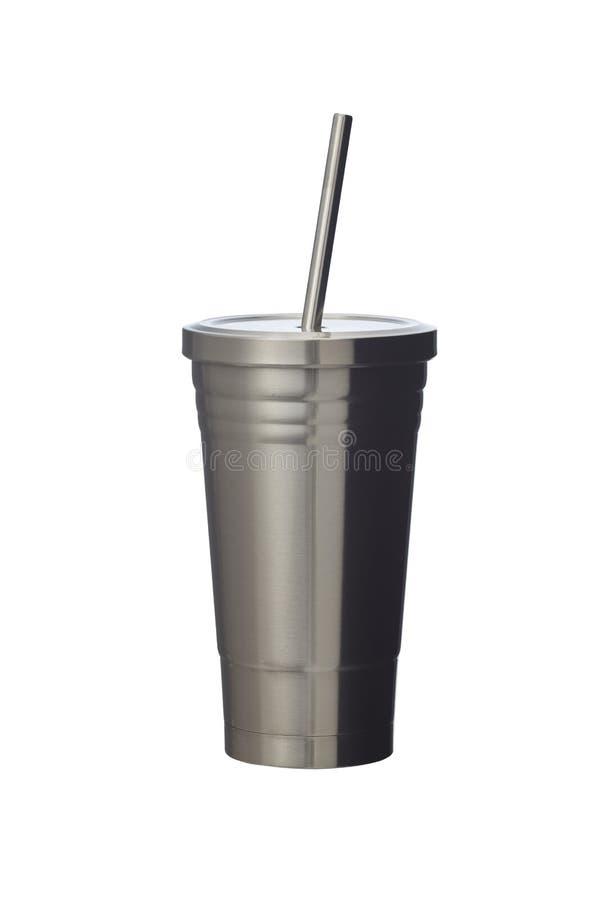 Steel mug isolated on white stock photo