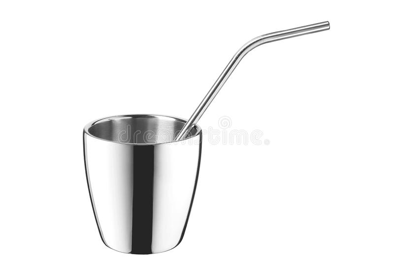 Steel mug with stainless straw isolated on white background. stock photos
