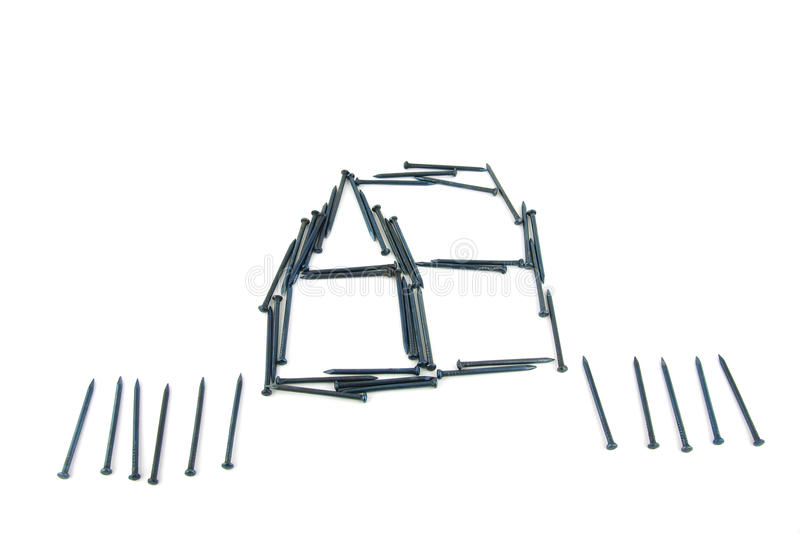 Download Steel Nails Construct House With Fence Stock Image - Image: 21584891