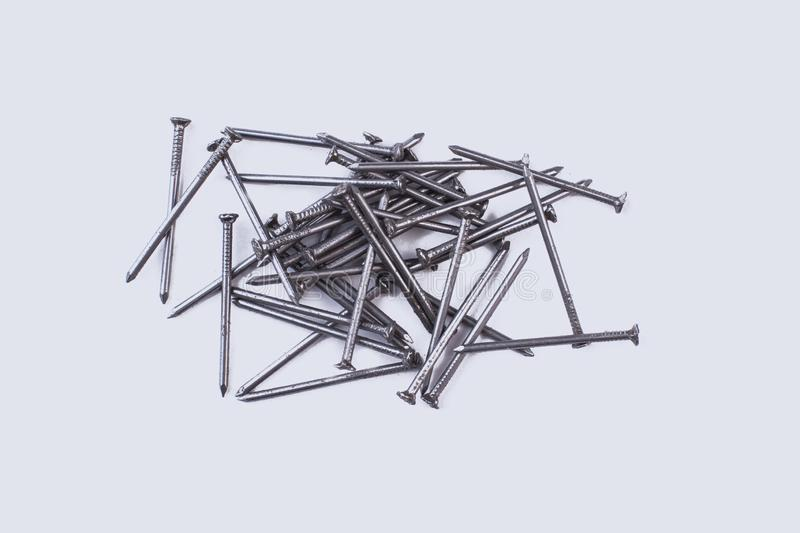 Steel nails isolated on white background. royalty free stock photos