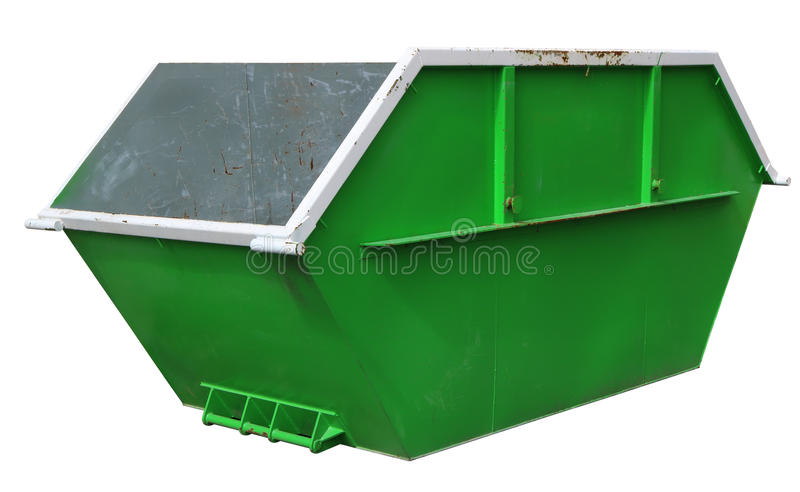 Steel new empty green container for construction waste. stock photos