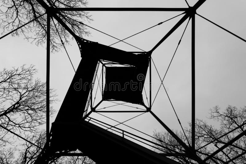 Steel Outlook tower on Confederate Avenue in Gettysburg, Pennsylvania.  stock photo