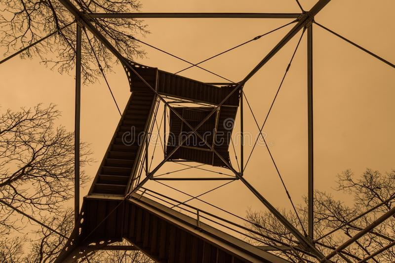 Steel Outlook tower on Confederate Avenue in Gettysburg, Pennsylvania.  royalty free stock images