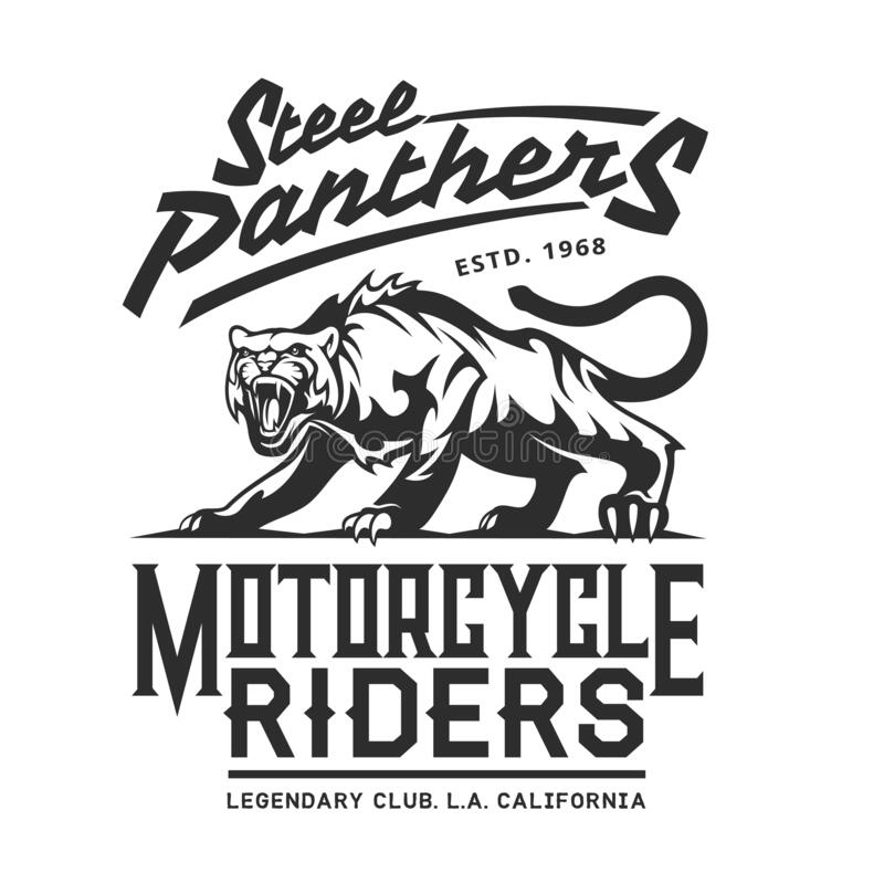 Steel Panthers, American California bikers club vector illustration