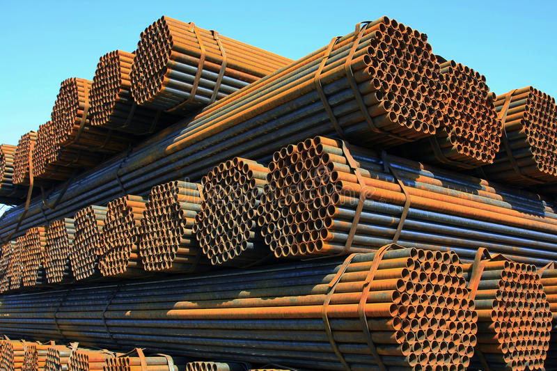 Steel pipe. High quality render of stacked steel pipe royalty free stock photos