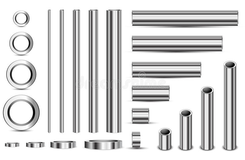 Steel pipe. Set of steel pipe line isolated on white background royalty free illustration