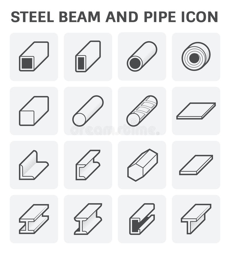 Steel Pipe Beam. Vector icon of steel pipe and beam product for construction industry work stock illustration