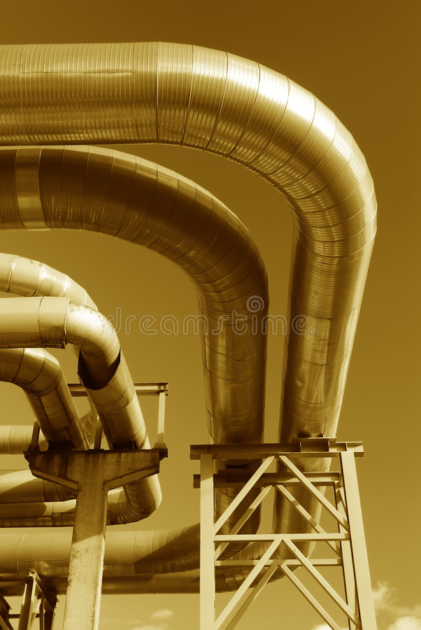 Free Steel Pipe-line Is Photographed On Sky Background Royalty Free Stock Image - 7135386