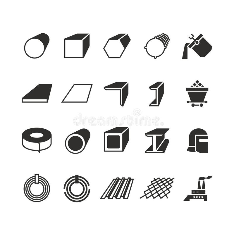 Steel pipe and roll steel metal product vector icons. Profile and bar, roll and pipe steel for construction illustration royalty free illustration
