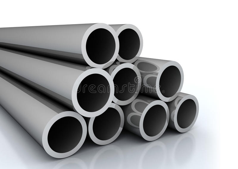Steel pipes. A set of large steel pipes on white background royalty free illustration