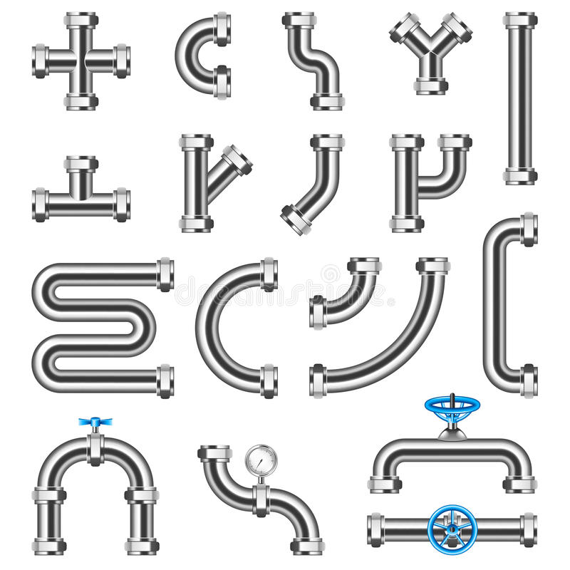 Free Steel Pipes Details Constructor Vector Set Royalty Free Stock Images - 93735549