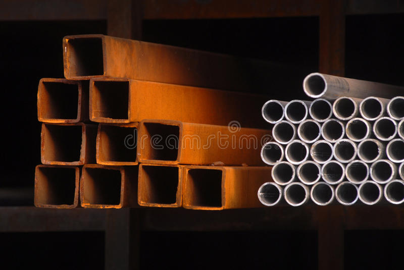 STEEL PIPES tubes stock image