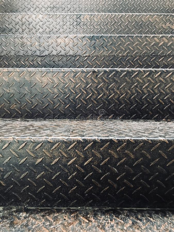 Steel plate of fire escape stairs. In Myanmar stock images