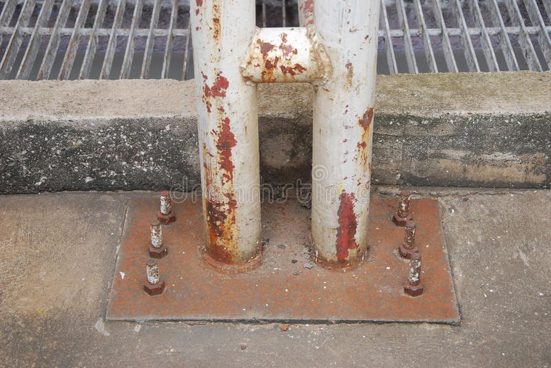 Steel Plate Of Pipe Pillar Royalty Free Stock Photo