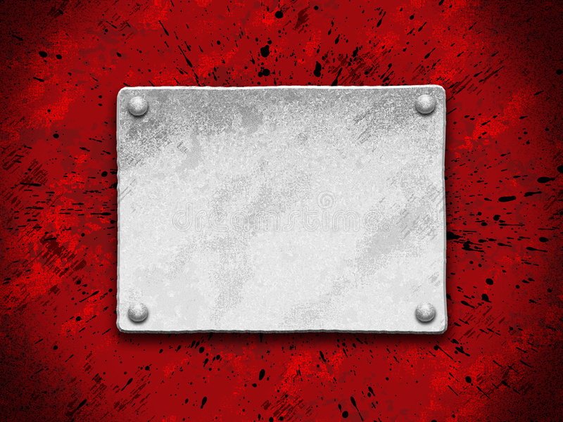 Steel Plate On A Red Grunge Background Stock Photo