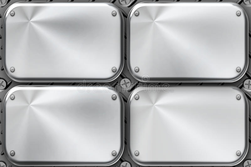 Steel plates. Rivets in brushed steel plates royalty free illustration
