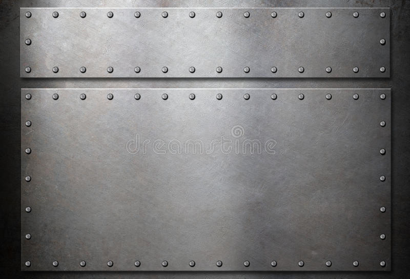 Steel plates with rivets over metal background. Background template steel metal plates with rivets stock illustration