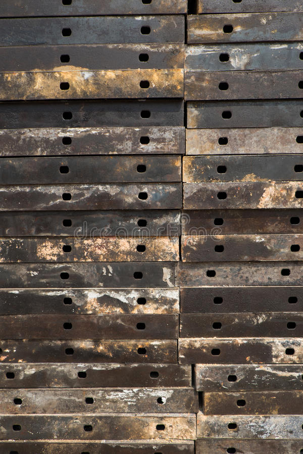 Steel plates stacked stock image
