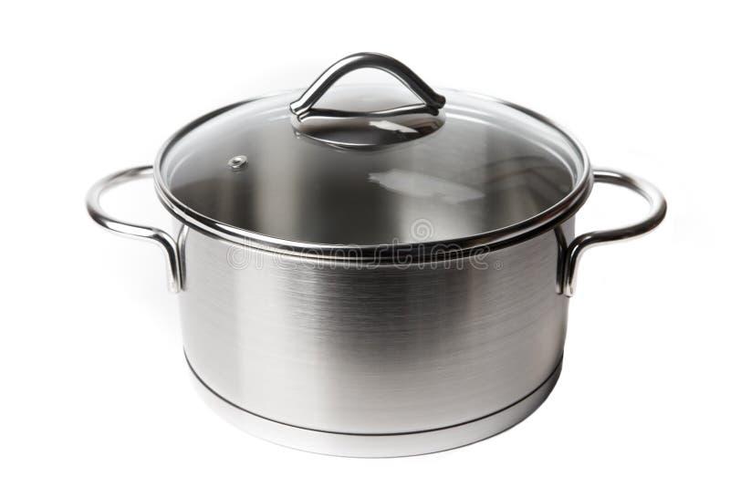 Steel Pot on White royalty free stock photos