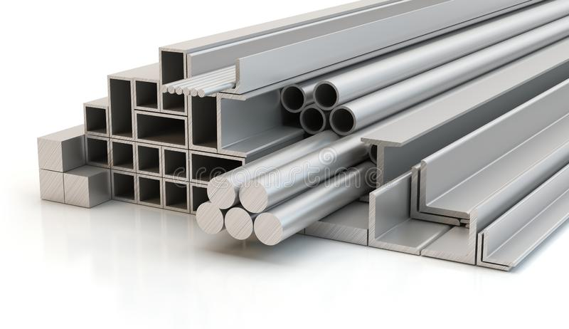 Steel profiles, 3D illustration royalty free stock photography
