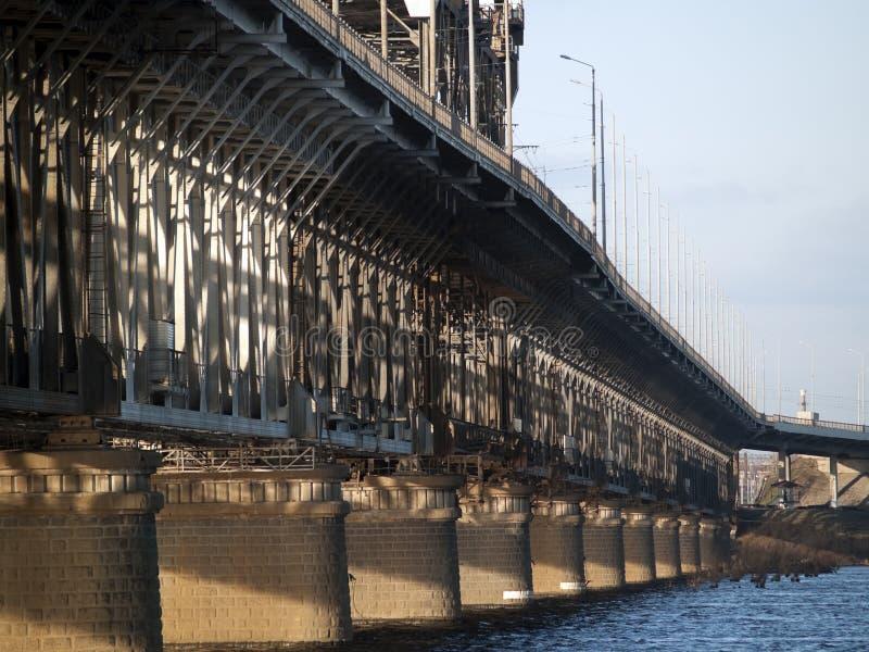 Steel railroad bridge royalty free stock photo