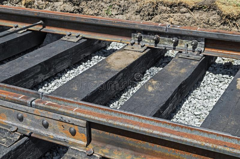 Steel rails and wooden sleepers stock image