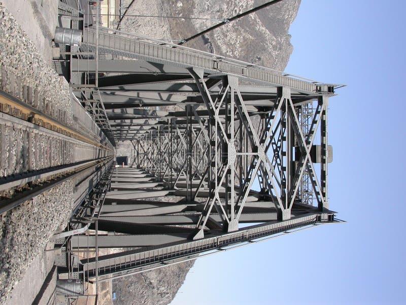 Steel railway bridge into tunnel in the moutain