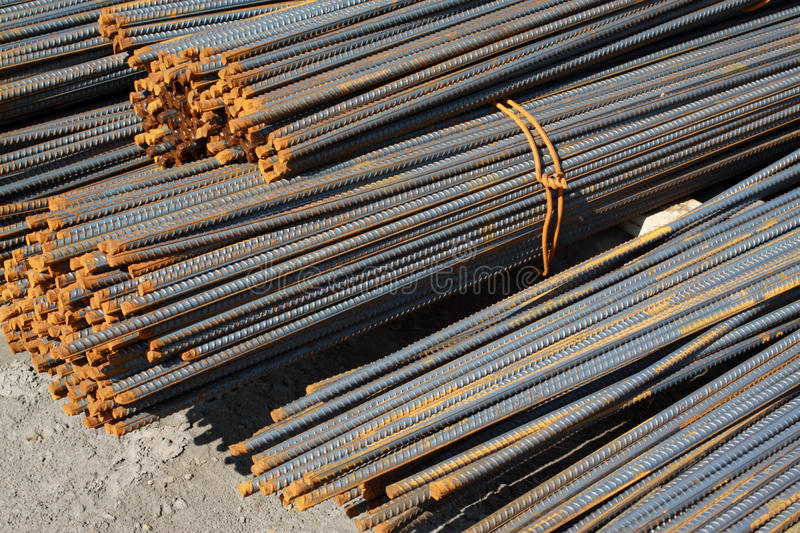 Steel rebar in pile up. At the construction site royalty free stock images