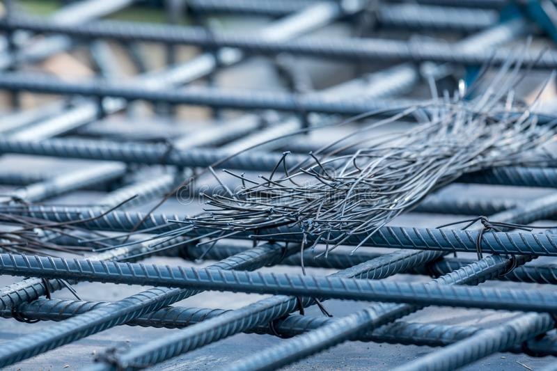 Steel Rebars For Reinforced Concrete With Wire Stock Photo - Image ...