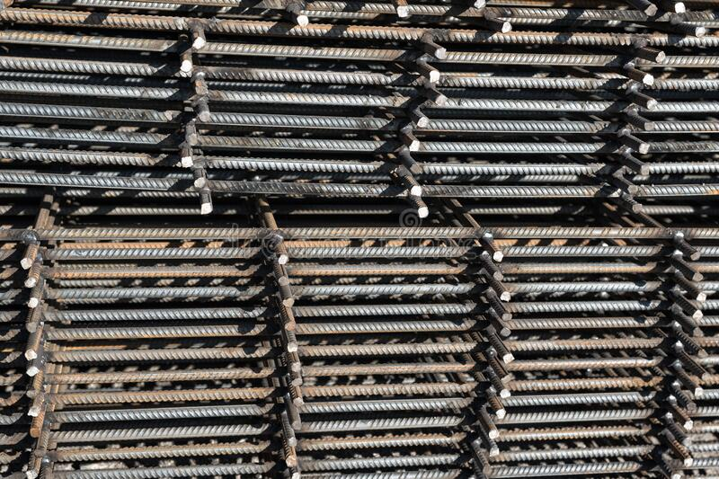 Steel reinforcement bar for industrial building. Reinforcing iron. Closeup of rebars.  stock images