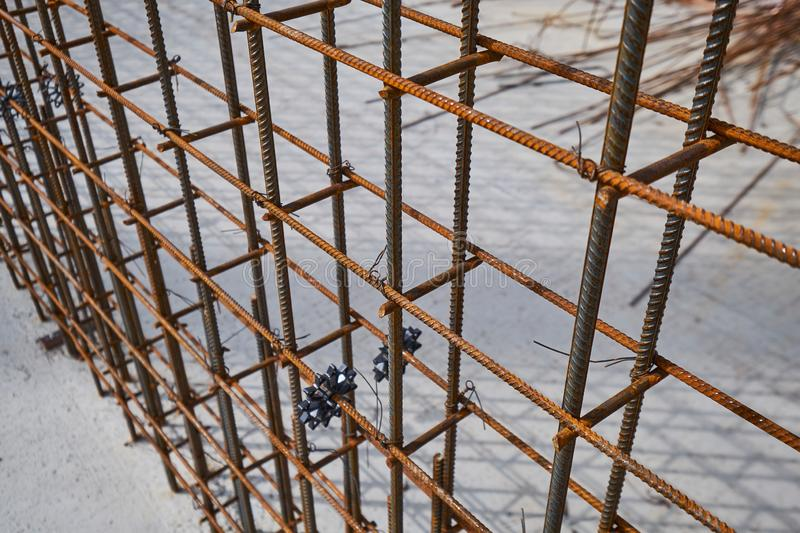 Steel reinforcement bar and timber form works at construction site. Snow stock photos