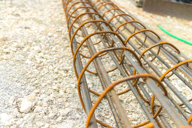 Steel reinforcement of piling work.  royalty free stock photos