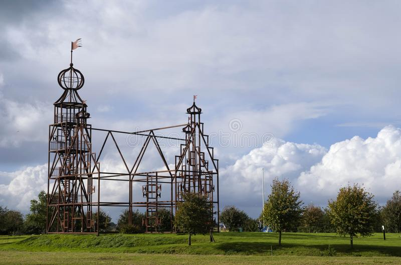 Steel replica Uniastate. Steel replica of the castle Uniastate near the Dutch village Beers royalty free stock photos