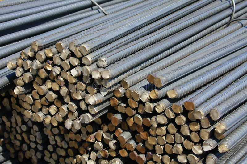 Steel rods. Or bars used to reinforce concrete stock images