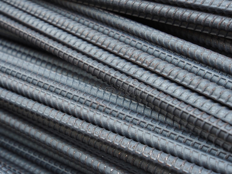 Steel rods or bars used to reinforce concrete. Steel rod or bars used to reinforce concrete stock image