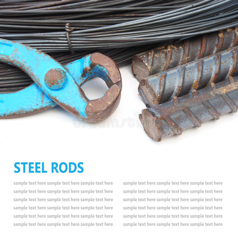 Steel rods or bars used to reinforce concrete technicians isolat. Steel rod or bars used to reinforce concrete technicians isolated on white background royalty free stock photo