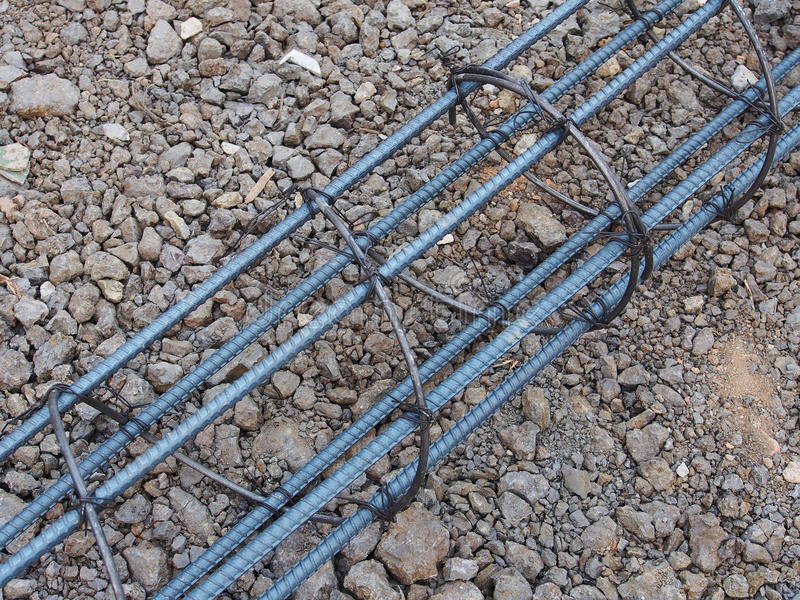 Steel rods or bars used to reinforce concrete technicians. royalty free stock images