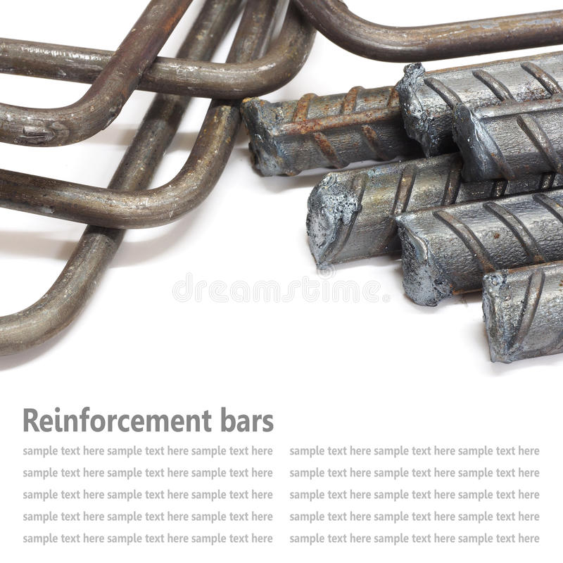 Steel rods, Reinforcement bars isolated on white background used. Steel rod, Reinforcement bars isolated on white background used to reinforce concrete royalty free stock image