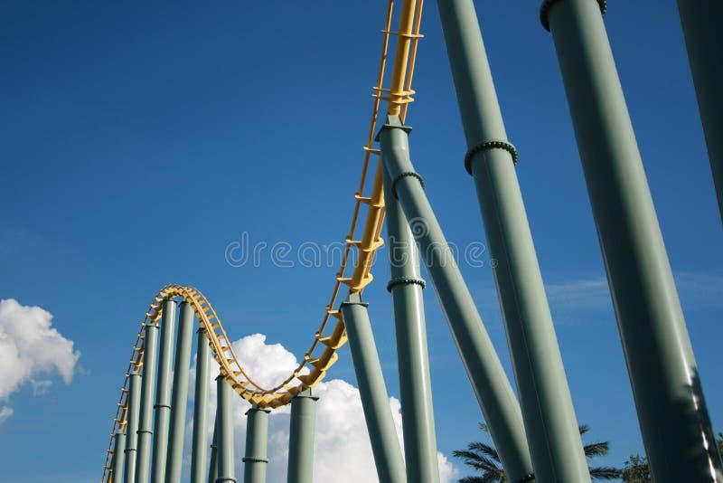 Steel roller coaster royalty free stock photos