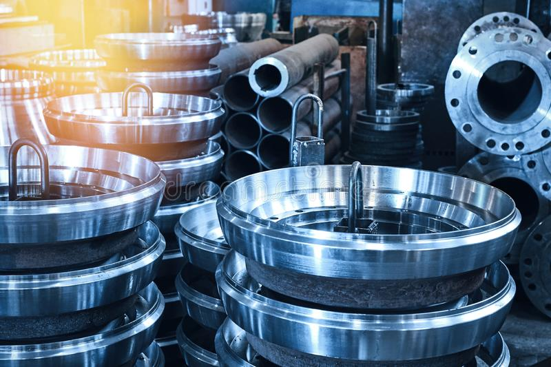 Steel rollers are blanks produced on a lathe from steel and cast iron. Many of the same parts fit into the factory floor. Expect further processing royalty free stock image
