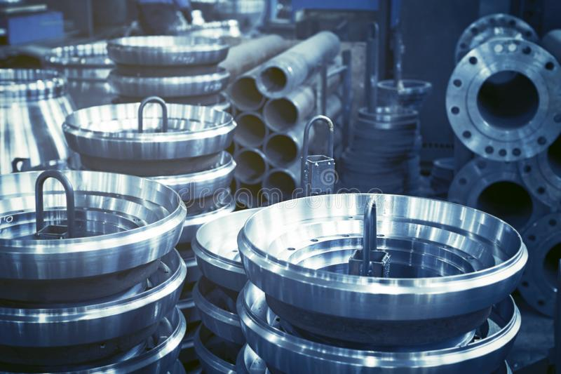 Steel rollers are blanks produced on a lathe from steel and cast iron. Many of the same parts fit into the factory floor. Expect further processing royalty free stock photos