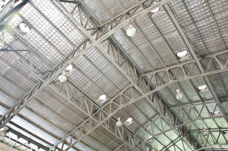 Steel roof structure. Steel roof structure of the industry stock photo