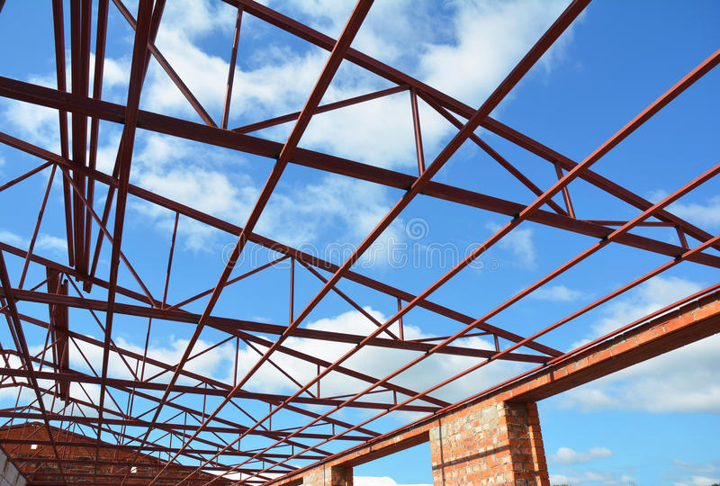 Steel Roof Trusses. Roofing Construction. Metal Roof Frame House Construction with Steel Roof Trusses Details. royalty free stock images