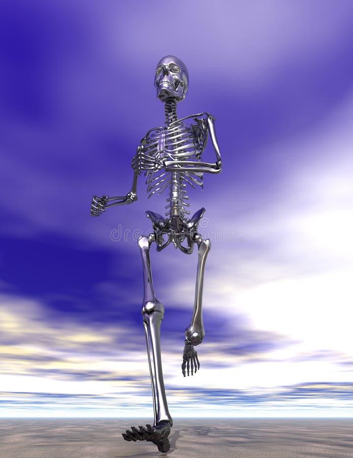 Steel Running Skeleton on wet sand vector illustration