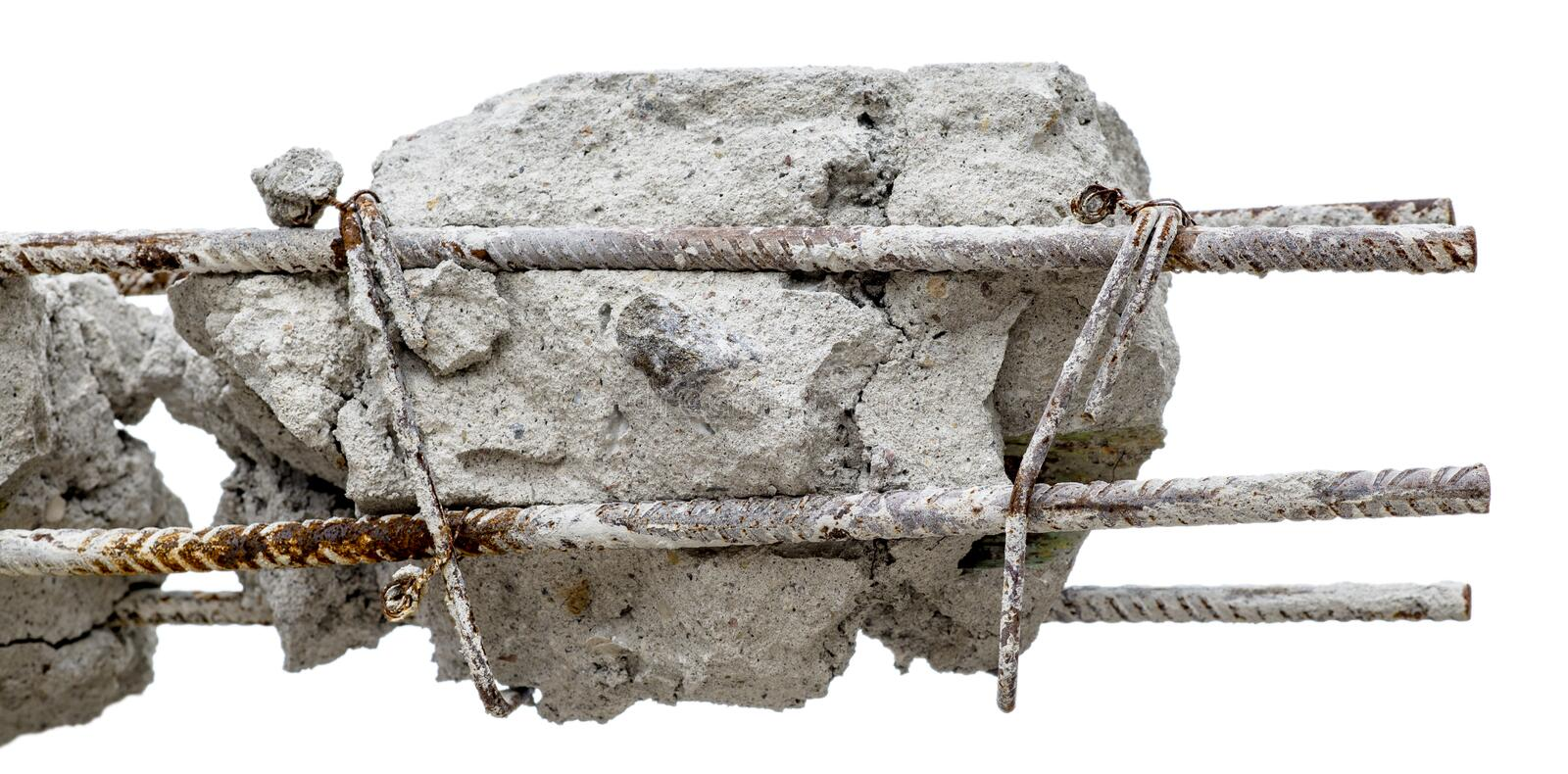 A steel rusty rods in concrete. Damaged concrete pillar isolated. royalty free stock photos