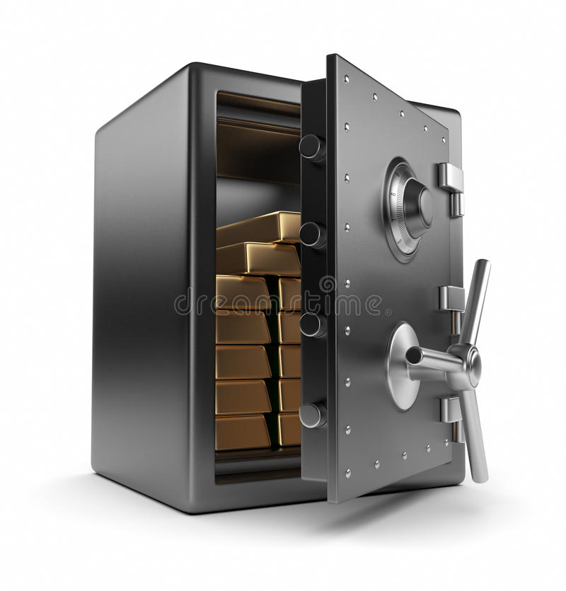 Steel safe box and gold 3D. Protection stock illustration