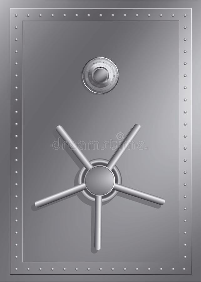Steel safe with combination lock stock illustration