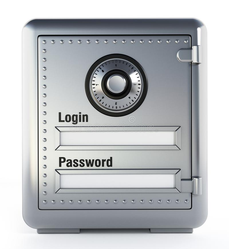 Steel safe with login and password screen. 3D illustration.  stock illustration